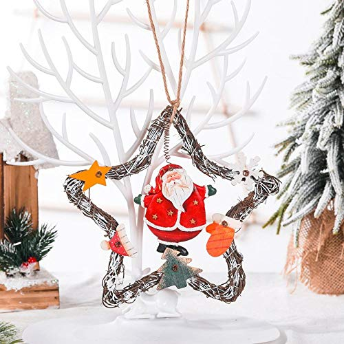 Christmas Retro Old Style Snowman Angel Vine Wreath Garland Door Hanging Coffee Shop Door Decoration Christmas Decoration Pendant-Elderly Five-Pointed Star Vine Circle