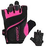 Contraband Pink Label 5137 Womens Padded Weight Lifting Gloves w/Grip-Lock Padding (Pair) - Machine Washable Fingerless Workout Gloves Designed Specifically for Women (Black/Pink, Small)