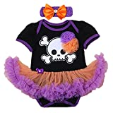 Newborn Baby Girl My 1st Halloween Party Romper Tutu Dress Headband Outfits Skull Pumpkin Toddler Clothes 2PCS Black & Purple 3-6 Months