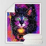 Manta Polar Felpa de Sofá Gato Animal Fluorescente Negro Rojo púrpura Mantas de Lana para sofá/Cama Manta de Felpa para Todas Las Estaciones para Adultos y niños 70 cm x 100 cm