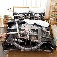 3Dプリントスチーム鉄道パターン布団カバーセットの女の子の大人、ビンテージ列車寝具2つの枕カバー、現代の産業スタイルのマイクロファイバー布団のカバー,H,135x200cm