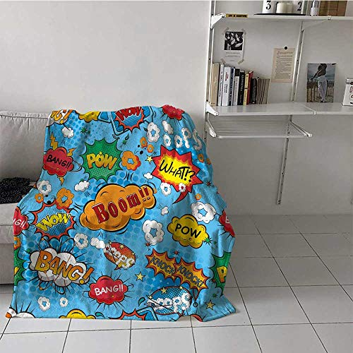 "prunushome Superhero Sofa Blanket Colorful Comic Style Icons Effects Boom Scream Magazine Signs Pop Art Illustarion Super Soft Light Weight Warm Multicolor Twin (60""x80"")"