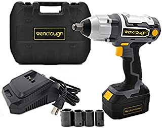 Werktough 1/2 Inch Cordless Impact Wrench 18/20V Battery Operated Electric Impact Driver Wrench Kit Battery Charger Included IW03