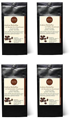 4 x Kaffee mit Geschmack - Mandel Zimt, Toffee, Schokolade, Macadamia - Arabica Röstkaffee mit Aroma - gemahlen - 4 x 75 g (300 g insgesamt)