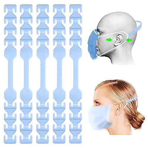 TOOVREN Verlängerungshaken für mundschutz, Ohrenschutz Anti-Rutsch wiederverwendbar, 8 verstellbare Silikon Verstellschnalle, Ohrenriemen für Erwachsene und Kinder (Blau 5Pcs)