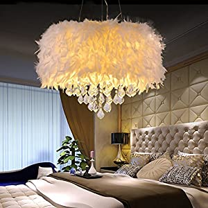 Surpars House White Feather Crystal Chandelier 4-Light Pendant Light