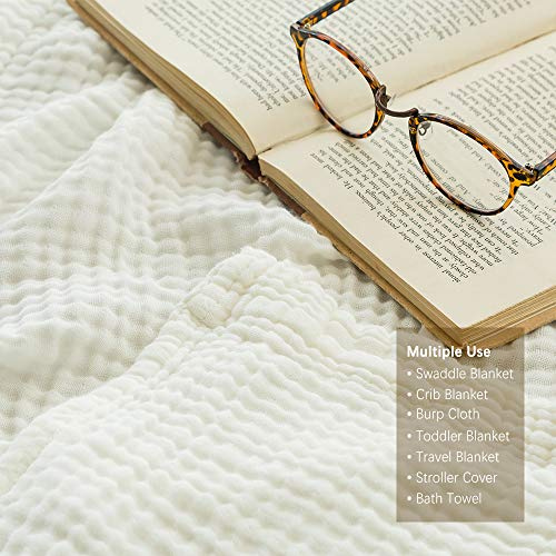 EMME 100% Cotton Muslin Blankets for Adults 4-Layer Breathable Muslin Throw Blanket Pre-Washed Lightweight Bed Blankets Soft Cotton Blanket All Season (White, 55x75)