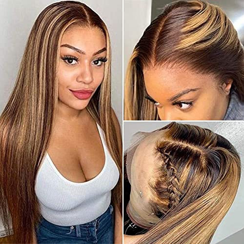 Straight Highlight 4-27 Lace Front Wigs Human Hair Glueless 13x6x1 T part Lace Front Wig Ombre Brown Blonde Brazilian Human Hair Wig for Black Women Pre Plucked With Baby Hair 150% Density 22 Inch