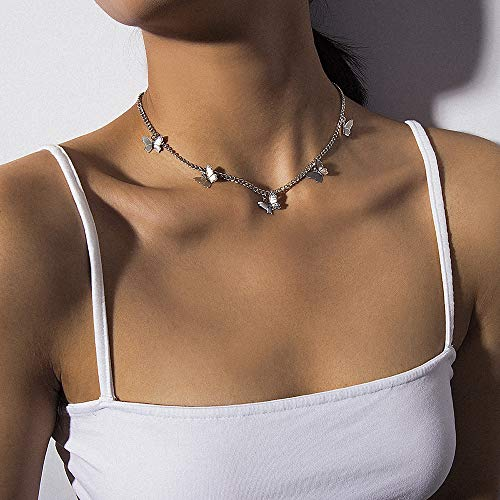 Deniferymakeup Zilveren Vlinder Ketting Choker Ketting Vlinder Sieraden Dagelijks Draag voor Vrouwen Dames Meisjes Multilayer Vrouwen Sieraden