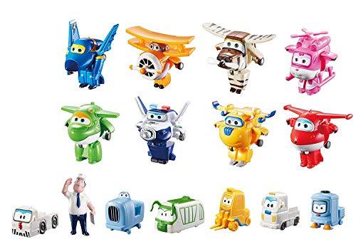 Super Wings Transform-a-Bots World Airport Crew   Serie 1   Paquete colector de tripulación   15 Figuras de Juguete   Figuras de 2 Pulgadas