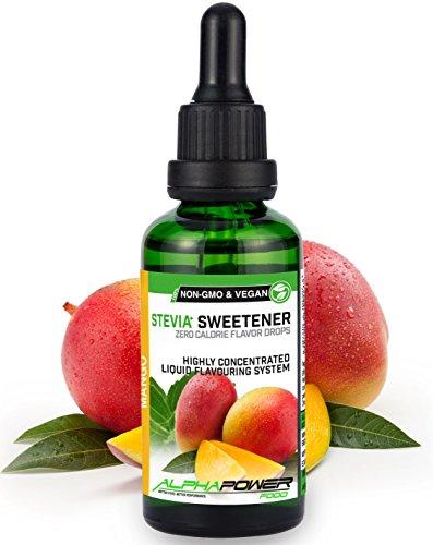 ALPHAPOWER FOOD: Stevia liquida, (1 x50ml Gusto mango) Gusto liquido, Gocce aromatizzanti e dolcificante senza zucchero sostituto dello zucchero & calorie, dolcificante naturale, vegano