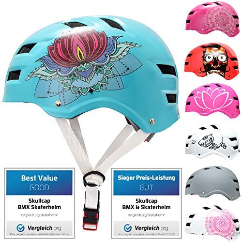 Skullcap® Skaterhelm Erwachsene Türkis Lotus - Fahrradhelm Damen ab 14 Jahre Größe 58-61 cm - Scoot and Ride Helmet Adult Turquoise - Skater Helm für BMX Inliner Fahrrad Skateboard