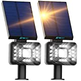 TBI 21 LEDs Solar Landscape Spotlights, 200ft Lighting Distance - Waterproof Solar Powered Wall Lights - 2-in-1 Wireless Outdoor Landscaping Lights for Yard Garden Driveway Porch Walkway Pool 2-Pack