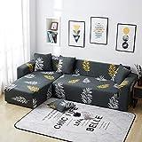 WXQY Funda de sofá elástica Negra con patrón Creativo decoración del hogar Antideslizante Funda de sofá Envuelta herméticamente Funda de sofá A5 4 plazas