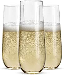 Set of 24 shatterproof 9oz crystal clear coupes to display wines, champagnes, sparklings etc. Stemless body maintains stability whether glasses are sitting on a table, bar or tray Disposable. Reusable. Made of BPA-free, unbreakable, recycled PET plas...
