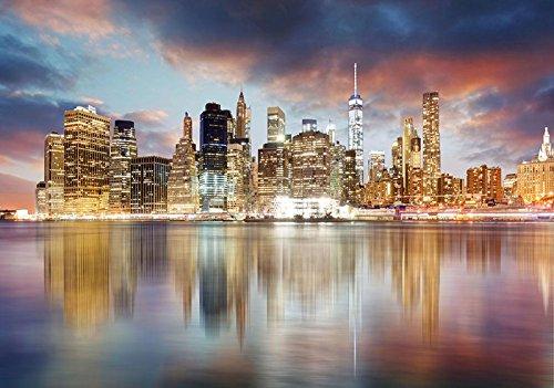 FORWALL AMF11854_VEN New York Papier Peint intissé Motif New York Photo Wallpaper Mural AMF11854_VEN New York Ville bâtiments Eau Ciel Ciel Ciel de petens, Non-tissé, coloré, V8 (368cm. x 254cm.)