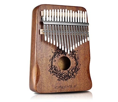 Kalimba-17 Key Thumb Piano,Exquisite Mahogany Wood Portable Kalimba,Tune Hammer and Study Instruction,Musical Gifts for Music lovers Adults Kids(Classic Brown)