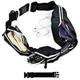 [Voted #1 Running Belt] 3 Pocket Runners Fanny Pack w/RFID Blocking - for iPhone 6 7 8 8 Plus X 11 12 & Android Samsung. No Bounce, Waterproof, Fitness & Travel Belt! Sleekest, Most Durable in The World!
