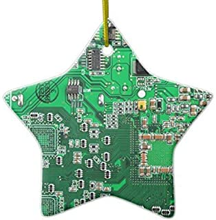 Mesllings Funny Christmas Ornaments Computer Geek Circuit Board - Green Ceramic Ornament
