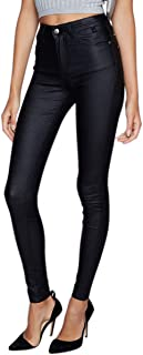 WEEKAN Women's Faux Leather Leggings Pants Stretchy High Waisted Black Tights