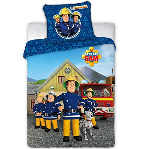 Faro Tekstylia Feuerwehrmann Sam 038 Kinderbettwäsche Fireman Sam Babybettwäsche 100x135 cm + 40x60 cm