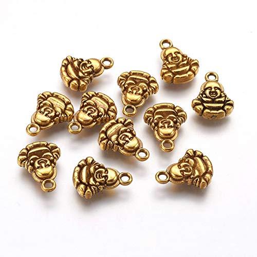 Craftdady 50pcs Antique Gold Buddha Pendant Tibetan Vintage Buddhist Spiritual Dangle Charm 14x11mm for Jewelry Craft Making Hole:1.5mm