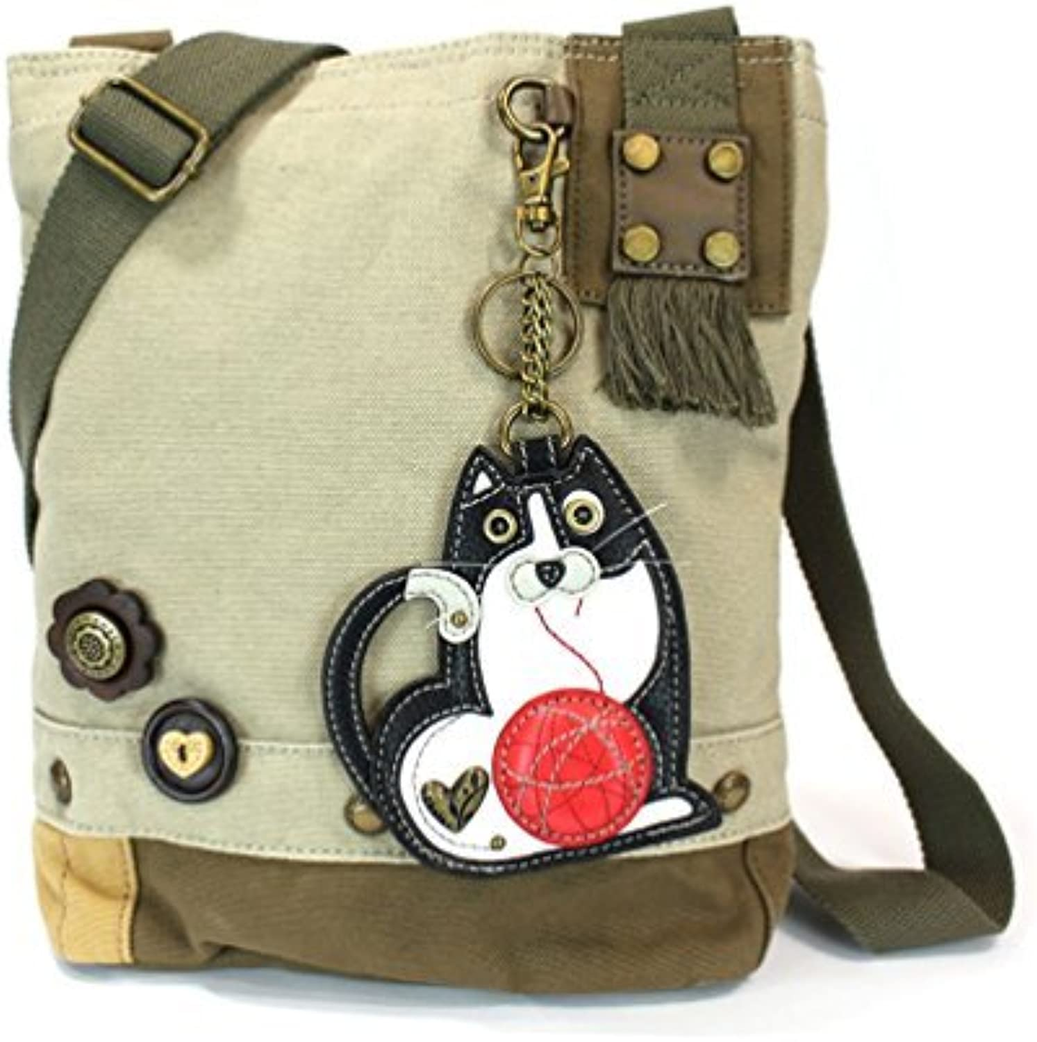 Chala Purse Handbag Sand Canvas Crossbody with Key Chain Tote Bag Fat Cat