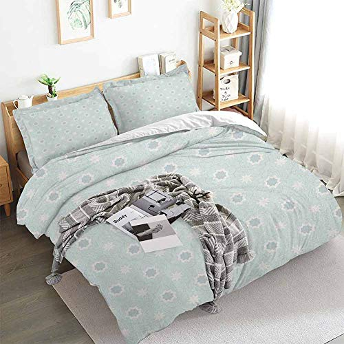 Quatrefoil Duvet Cover Set,Archaic Symbol of Morocco Classical White Star Shapes on Pale Blue Backdrop,Decorative 3 Piece Bedding Set with 2 Pillow Shams,California King(104'x98') Baby Blue White