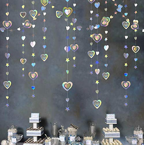 40Ft San Valentino 3D Iridescent Heart Twinkle Star Garland Double Sided Holographic Paper Streamer per Anniversary Engagement Wedding Bridal Baby Shower Decorazioni per feste di compleanno