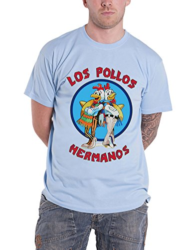 Breaking Bad T Shirt Los Pollos Hermanos new Official Mens Skyblue