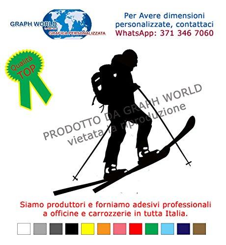 GRAPH WORLD Adesivo SCIALPINISTA Colore a Scelta SCIALPINISMO Alpinismo Sci Ski Sticker Adesivi Montagna