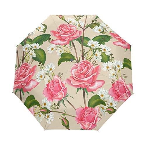 Rosa Rosa Cosmos Flor Paraguas Plegables niña niño Automático Resistencia Viento Paraguas Impermeable de Viaje