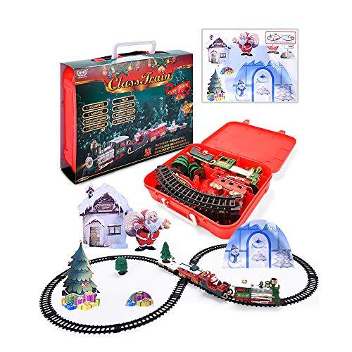 Ruidada Juego de Trenes de Juguete con Luces y Sonidos Juego de Trenes navideños Rieles con Pilas Tren navideño para niños Regalo de cumpleaños