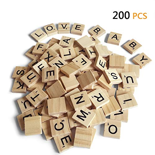 200PCS Scrabble Letters for Crafts  Wood Scrabble TilesDIY Wood Gift Decoration  Making Alphabet Coasters and Scrabble Crossword Game