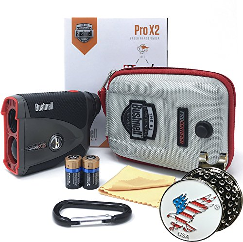 Bushnell Pro X2 Golf Laser Rangefinder GIFT BUNDLE Includes Golf Rangefinder