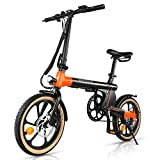 Macwheel Electric Bike, 16 inches Ebike with Foldable Design, Dual-Disc Brakes, 3 Riding Modes for Adults and Teenagers, Lightweight & Portable