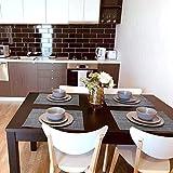 6er Platzdeckchen mit einem Tischläufer,Eageroo Rutschfest Abwaschbar Tischmatten aus PVC Abgrifffeste Hitzebeständig Tischsets Schmutzabweisend,Hellgrau (6er Platzsets + ein Tischläufer) - 8