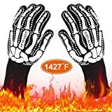 COOLBEBE Black Skeleton BBQ Grill Gloves, Unisex Cooking Oven Barbecue Gloves Kitchen Mitts with...