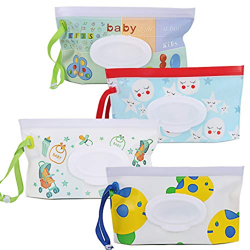 4 Pack Wet Wipe Pouch Dispenser,Eco Friendly Durable Portable & Refillable Reusable Baby Travel Wet Wipe Cases,Travel Wipes Bag, Wipe Dispenser Container