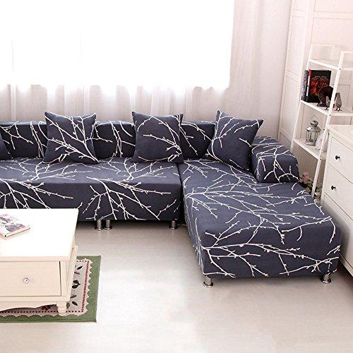 HYSENM 1/2/3/4 Sitzer Sofabezug Sofaüberwurf Stretch weich elastisch farbecht Blumen-Muster, Grau 3 Sitzer 190-230cm