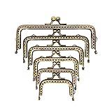 Fauge - Cerradura de 6 tamaños con marco de metal para hacer monederos, marco de metal, cierre de beso, cuadrado para bolso de embrague, marco de embrague, color bronce envejecido (2.5-6.8'')