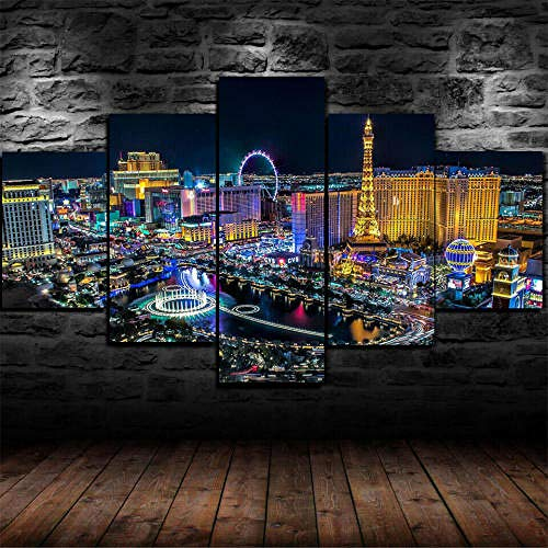 13Tdfc Cuadro En Lienzo 150X80Cm Luces De La Noche De La Ciudad De Las Vegas Enmarcadas Impresión De 5 Piezas Material Tejido No Tejido Impresión Artística Imagen Gráfica Decoracion De Pared