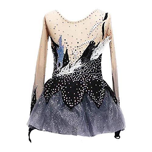 HYQW Handgemachte Skating Wear Für Kinder, Eislauf Kleid Wettbewerb Kostüm Kristalle Skating Kleid Langarm Performance Wettbewerb Kostüm,Black-Child14