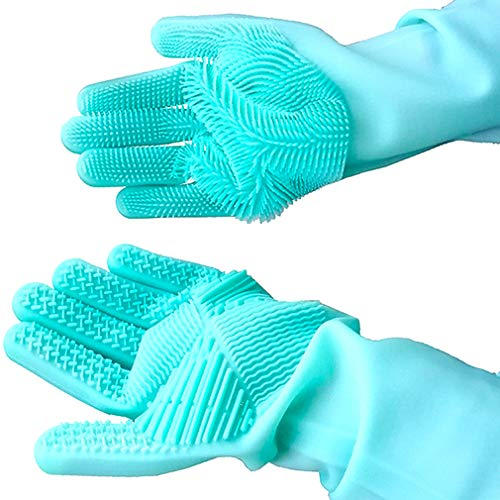 Geschirrhandschuhe, Reinigen Silikon-Spülhandschuhe, Silikon Handschuhe, Magische Handschuhe, Gummi-Handschuh für die Haushalt, Hitzebeständige Handschuhe für Küche, Bad, Auto (grün, 1 Paar, groß)