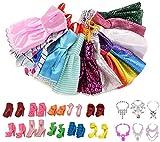 Chilits 26Pcs - 10PCS pour poupées Barbie Vêtements Tenues de Robe de soirée + 10 Paires de poupées Accessoires Chaussures + 6pcs Colliers de poupée pour Barbie pou Cadeaux de Jouets pour Enfants