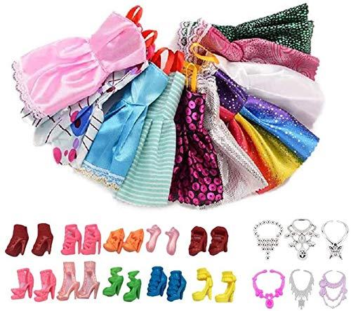 Pppby 10 piezas de ropa para muñecas y 10 pares de accesorios para muñecas + 6 collares de muñeca para muñeca Barbie para niños, regalos de juguete (vestido+zapatos+collar)