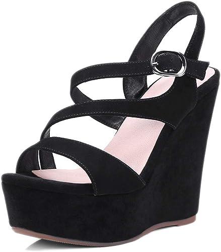 L-X Sandale Compensée pour Dame avec Plateforme à Lanières Confort Et Bout Ouvert Muffin en Cuir pour L'été, Noir, 35 UE