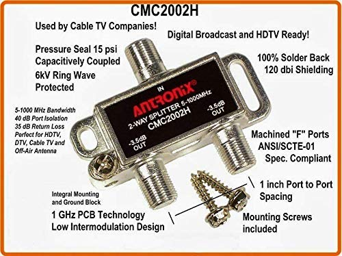 Antronix CMC2002H 2-Way- (3) Pack - Horizontal Splitter (2) -3.5db Ports 5-1002 MHz High Performance Profession Quality for Coax Cable TV & Internet Factory Sealed with Screws -Set of 3-