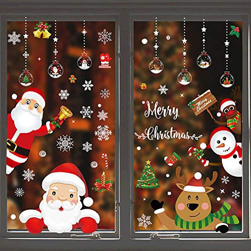 WELLXUNK® Weihnachten Fensterdeko Aufkleber, Schneeflocken Fensterbild, Fensterbilder Weihnachten Selbstklebend, Weihnachten Fenstersticker, für Schaufenster, Vitrinen, Glasfronten Dekoration (M2)