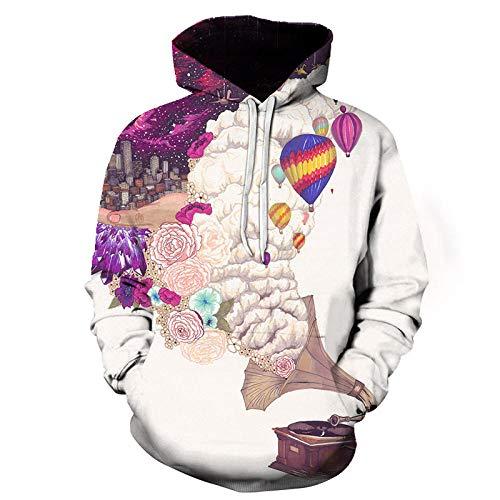 WYxiaobaozi 3D print hoodie Unisex, luidspreker en dream City Unisex 3D-hoodies voor scholieren hip-hop grappig bedrukte pullover hooded sweatshirt tassen paar baseball uniform